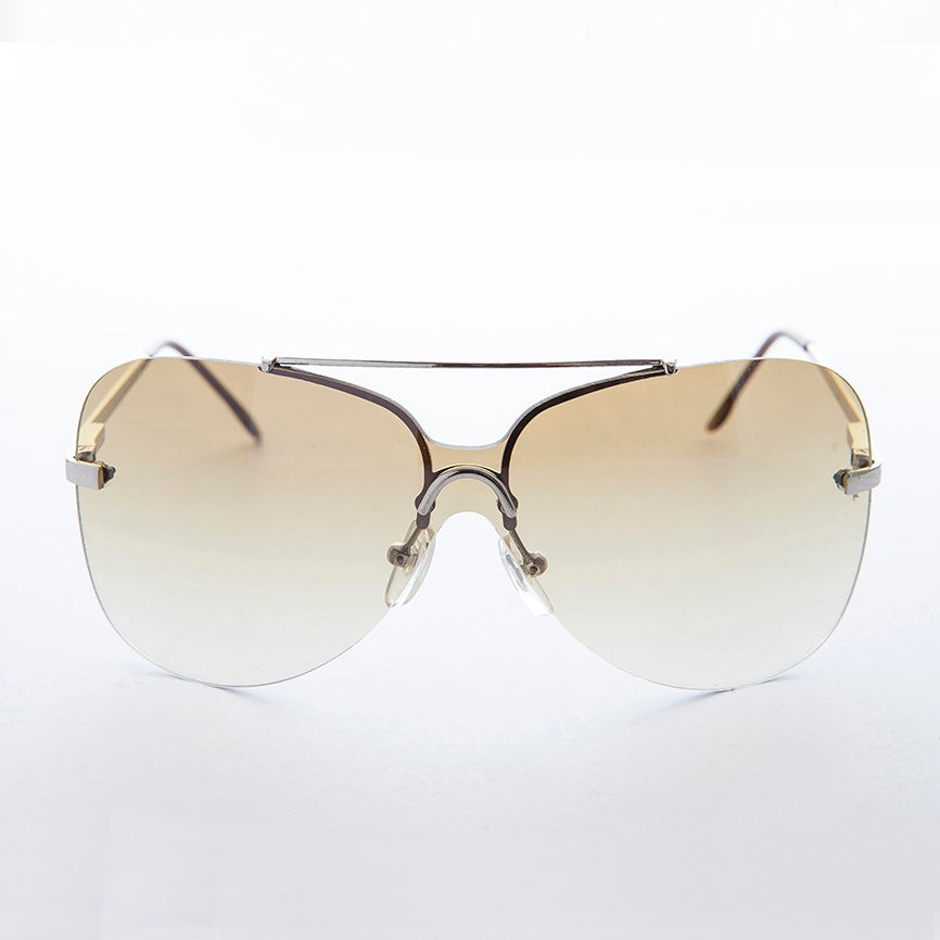 brown gradient lens vintage 90s rimless butterfly sunglass