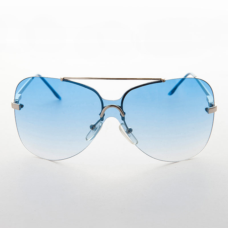 blue gradient lens vintage 90s rimless butterfly sunglass