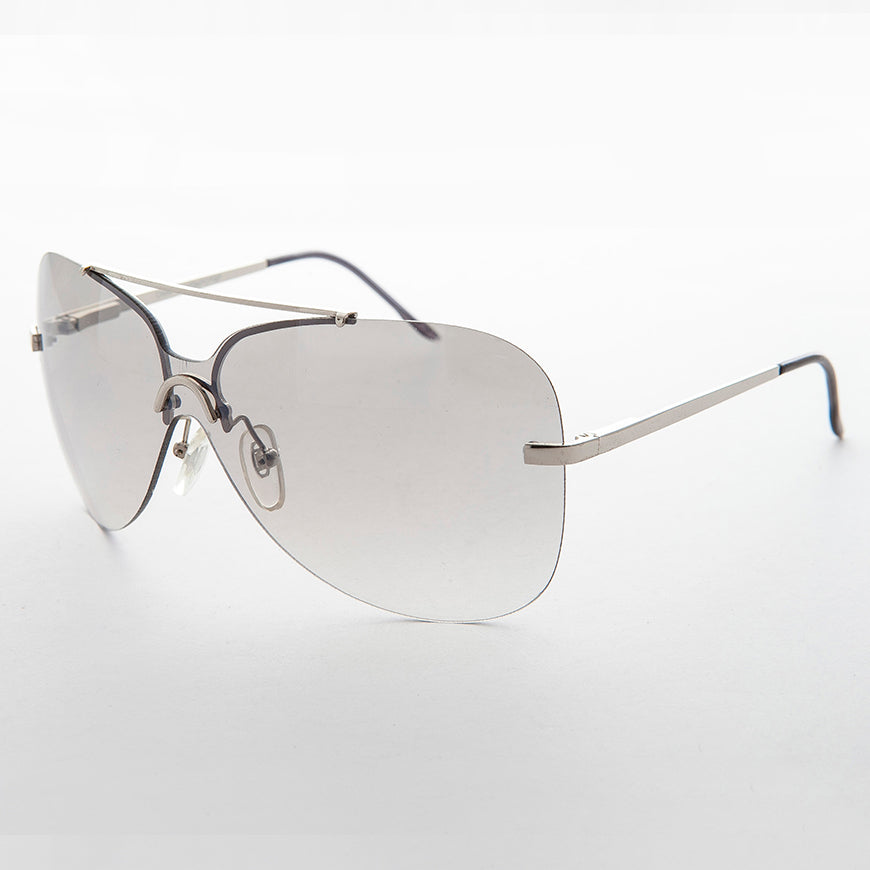gray gradient lens vintage 90s rimless butterfly sunglass