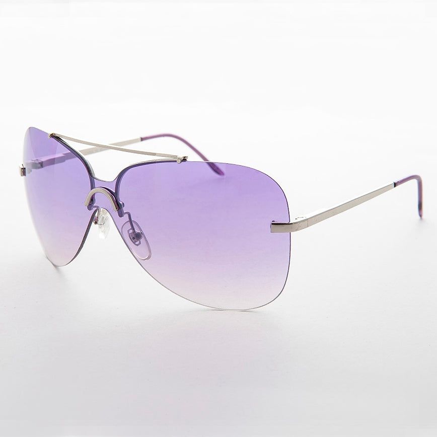 pink gradient lens vintage 90s rimless butterfly sunglass