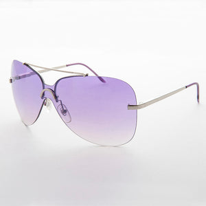 gradient lens vintage 90s rimless butterfly sunglass