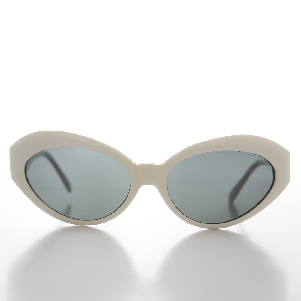 White frame curved cat eye women's sunglass