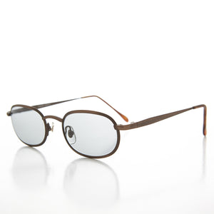 Oval Metal Half Frame Transition Glass Lens Vintage Sunglass - Foster