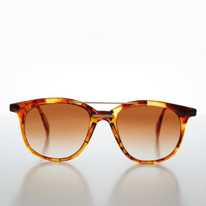 Round Vintage Sunglass with Gold Cross Bar