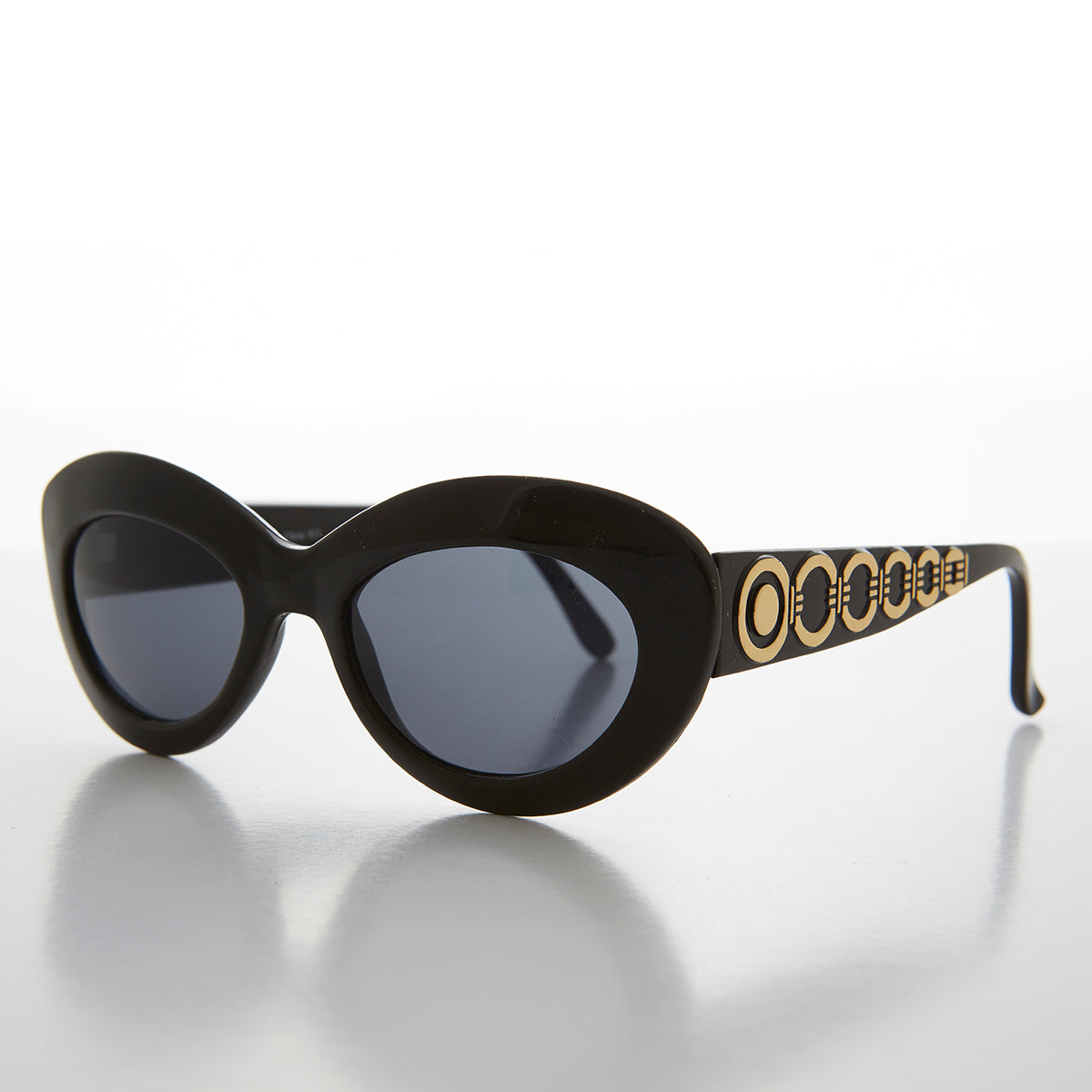 Mod Cat Eye Vintage Sunglass with Gold Temple Design