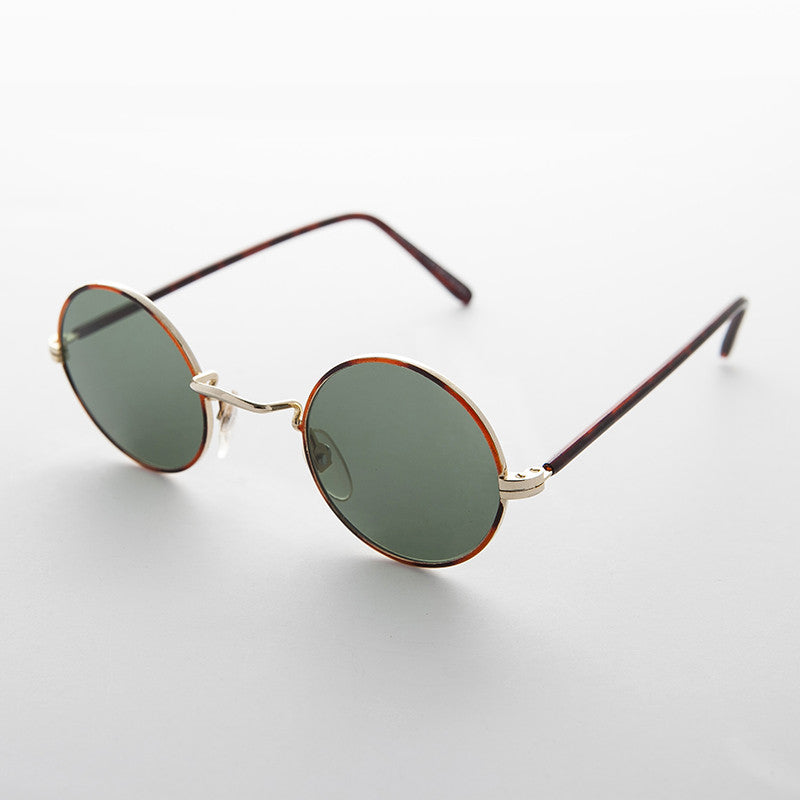 gold john lennon round vintage sunglass with glass lens