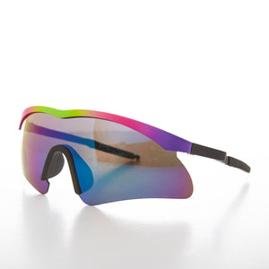 Tri-Color Sport Shield Wrap Vintage Sunglass