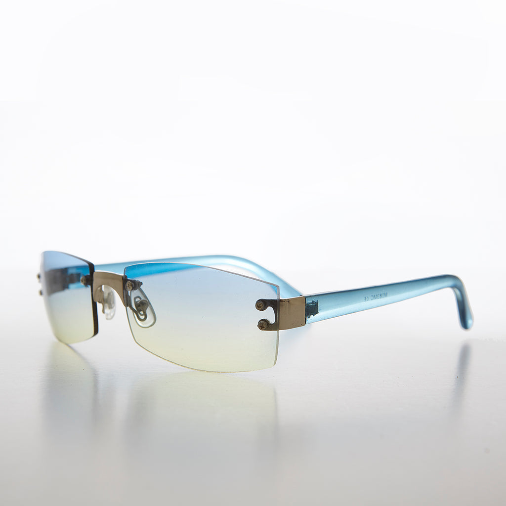 Rimless Color Tinted Lens 1990s Monotone Vintage Sunglasses
