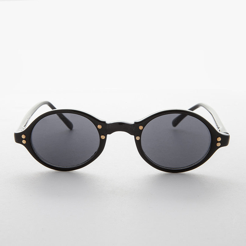 Oval Vintage Sunglasses with Gold Studs