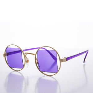 purple lens round psychedelic vintage sunglasses