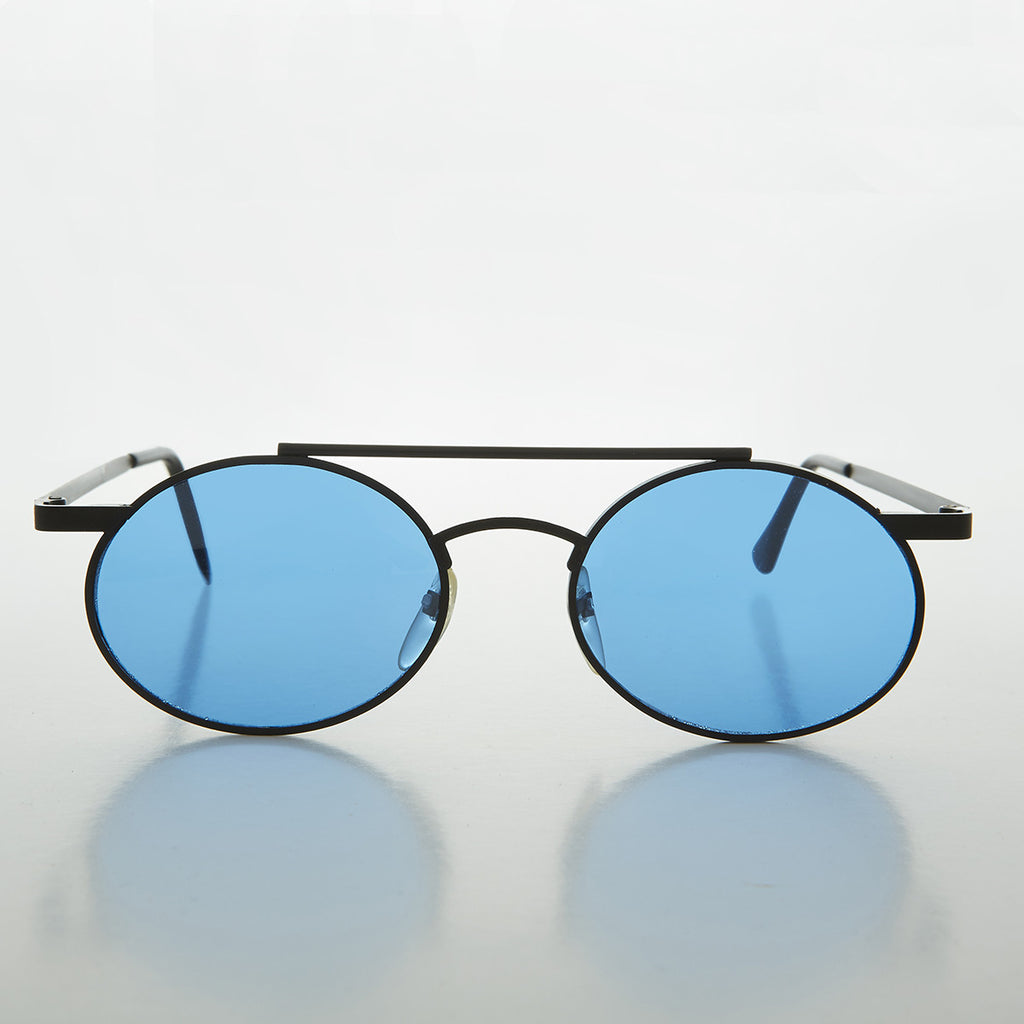 blue Colored Lens Steampunk Oval Vintage Aviator Sunglass