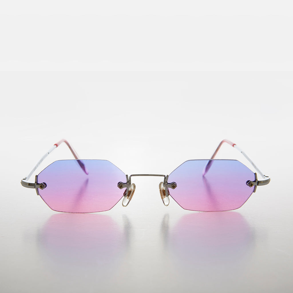 Rimless Hexagon Color Tinted Lens Vintage Sunglass