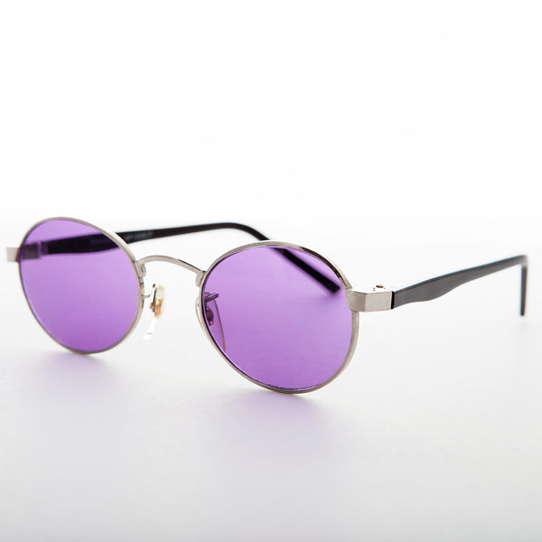 oval purple colored lens vintage sunglass