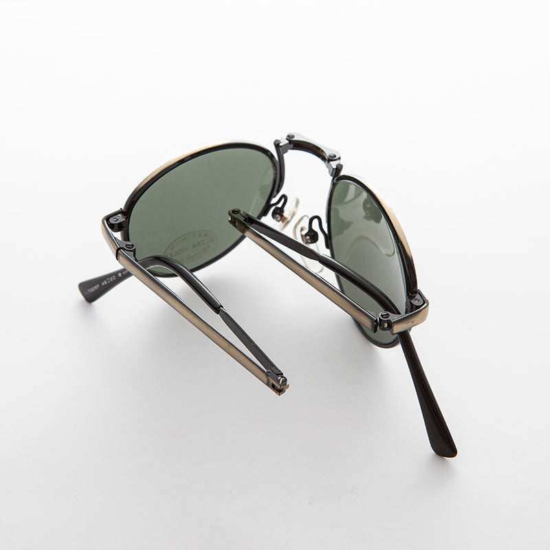 vintage folding metal sunglass with pouch