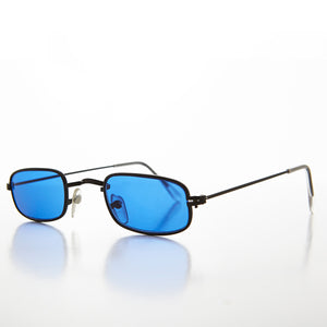 Rectangle Blue Color Tinted Lens Hippy Vintage Sunglasses