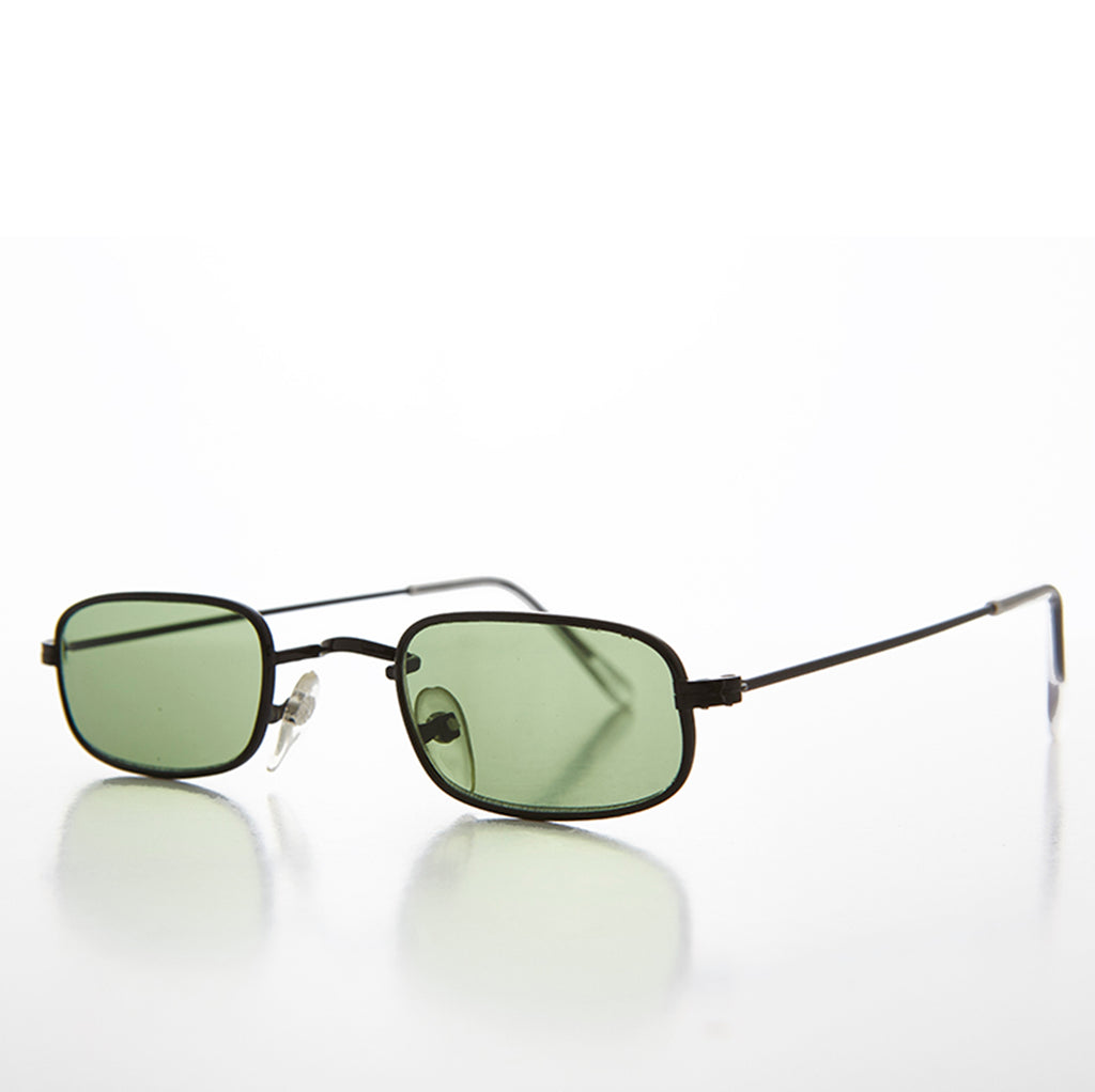 Rectangle Green Color Tinted Lens Hippy Vintage Sunglasses