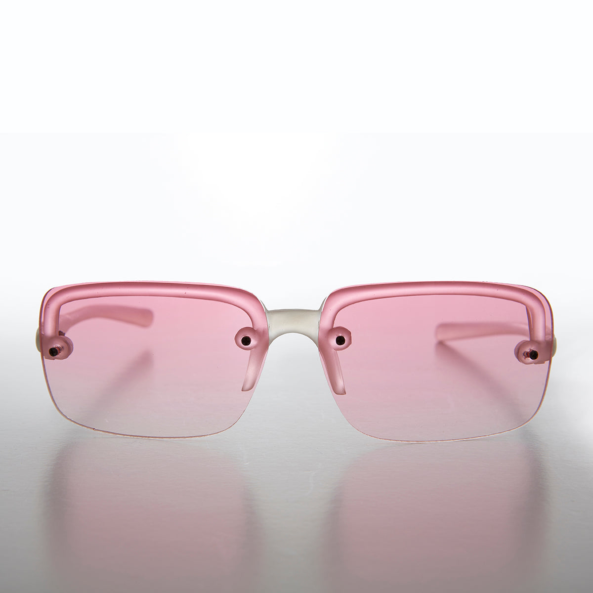 Rimless Tinted Lens Rectangle Vintage Sunglass