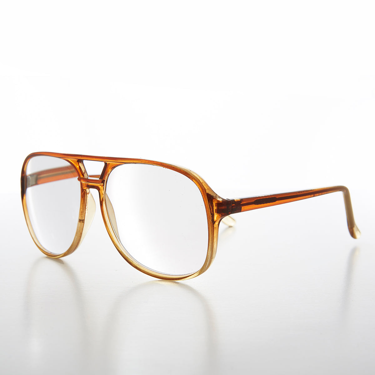 Classic Square Clear Chesnut Aviator Vintage Reading Glasses