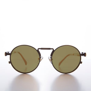 Round Bronze Goth Steampunk Sunglass with Colored Lenses