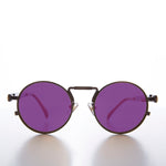 Load image into Gallery viewer, Round Bronze Goth Steampunk Sunglass with Colored Lenses