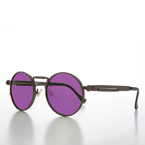 Round Black Goth Steampunk Sunglass with Colored Lenses