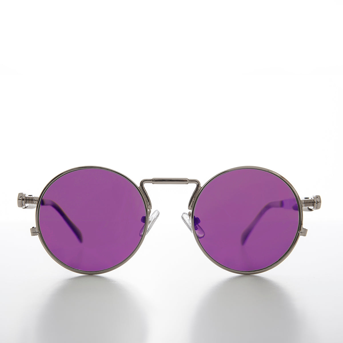 Round Silver Goth Steampunk Sunglass with Colored Lenses