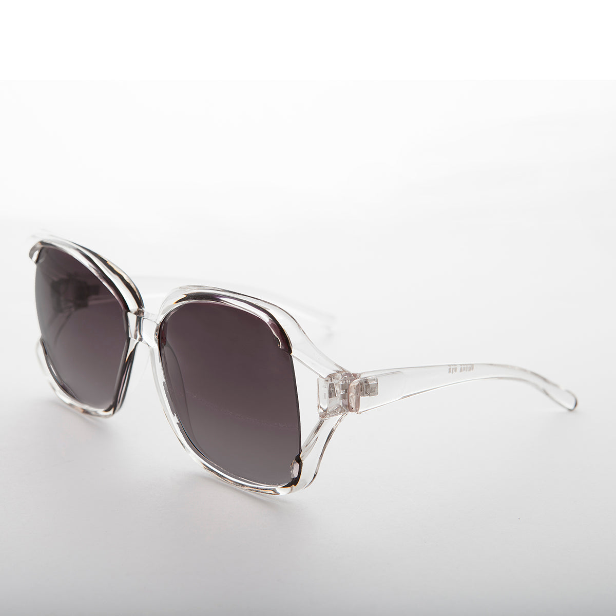 1980s oversized square clear frame women's vintage sunglass