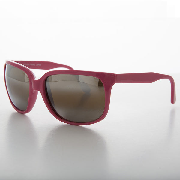 pink sports vintage sunglass with mirror lens