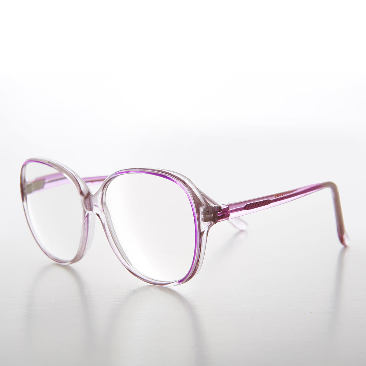 Big Clear Retro Reading Glasses with Purple Color Accent