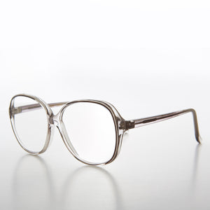 Big Clear Retro Reading Glasses with Gray Color Accent