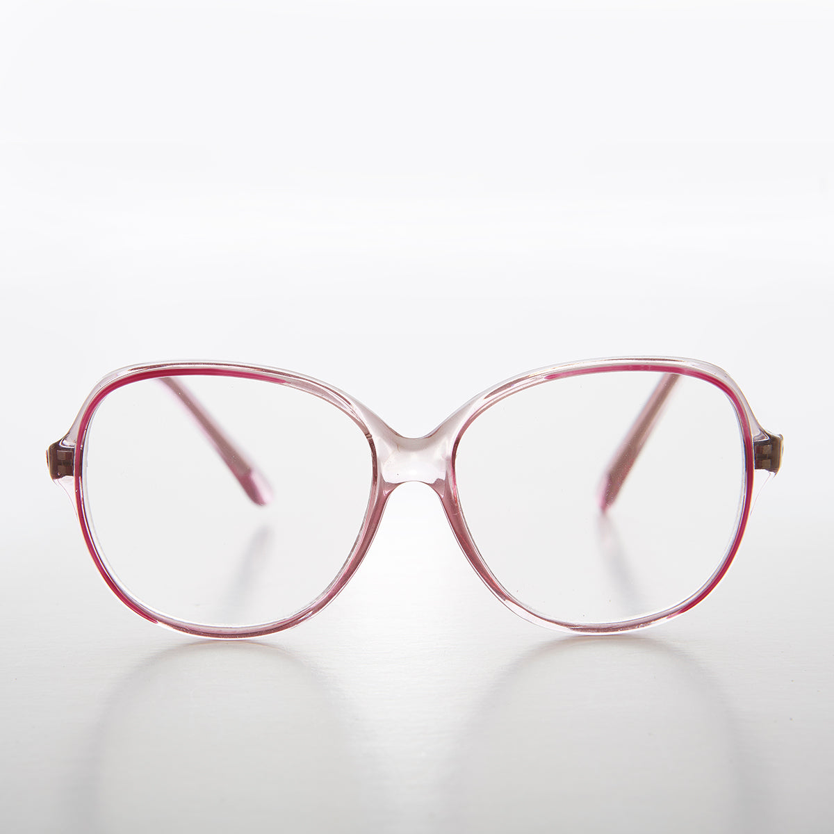 Big Clear Retro Reading Glasses with Red Color Accent