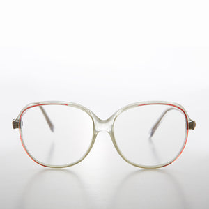 Big Clear Retro Reading Glasses with Pink Color Accent