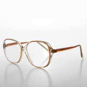 Big Clear Retro Reading Glasses with Brown Color Accent
