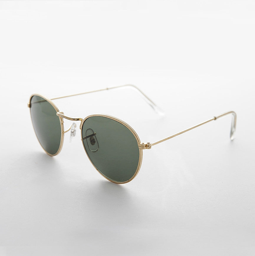 round glass lens gold frame classic vintage sunglass