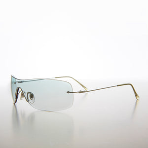 Green Gradient Colored Lens Shield Vintage Sunglass
