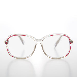 Clear Women's Retro Reading Glasses with Color Accents - Kara