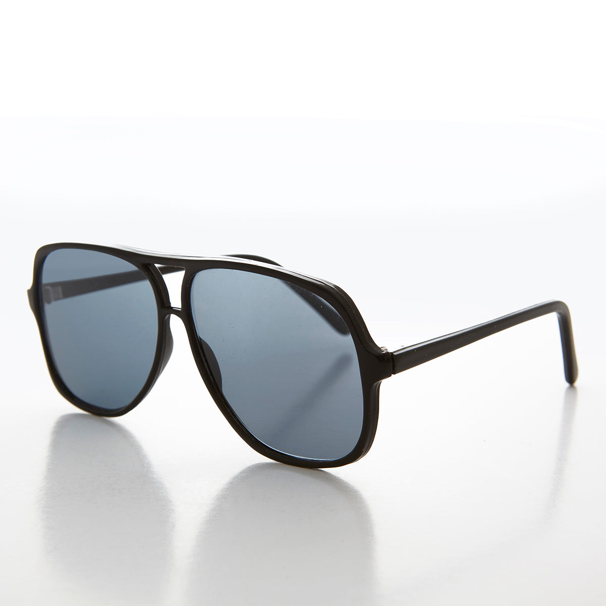 Square 1980s Real Glass Lens Polarized Aviator Sunglasses
