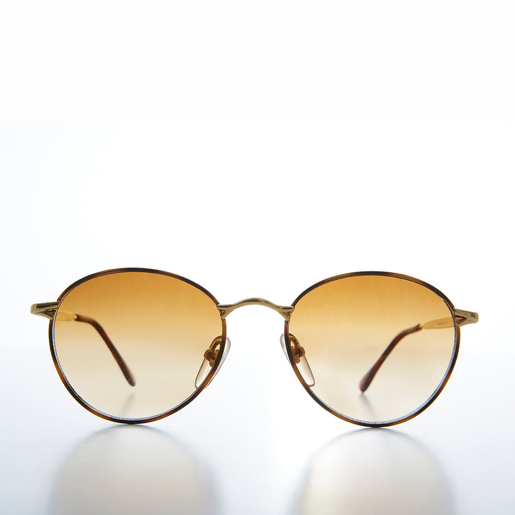 Gold Round Preppy Classic Metal Vintage Sunglass