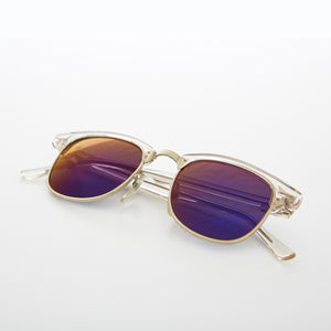 Clear Browline Vintage Sunglass with Mirror Lens