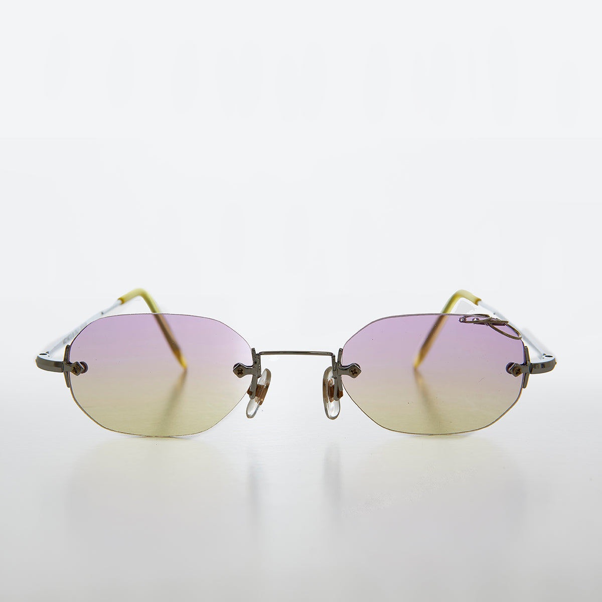 Rimless Colored Pierced Lens 90s Vintage Sunglass