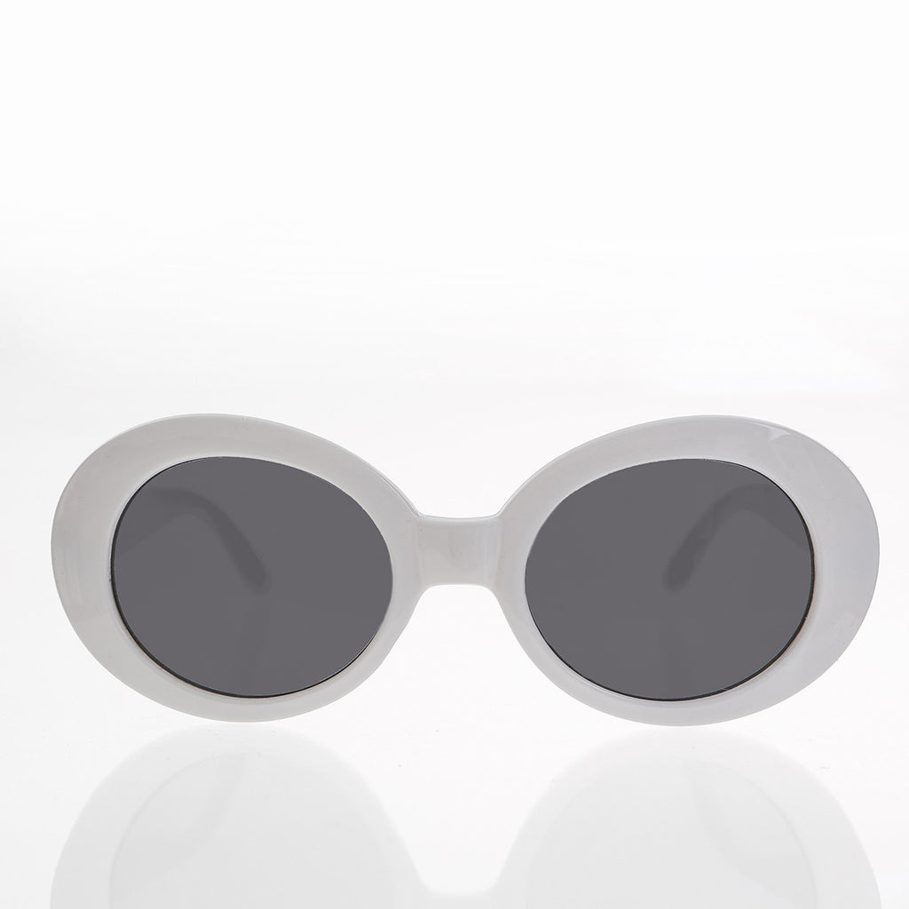 white kurt cobain oval cat eye sunglass