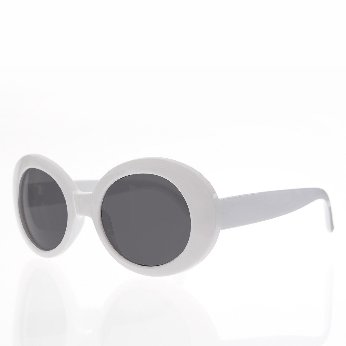 Kurt Cobain White Cat Eye Oval Clout Sunglasses - Kurtis