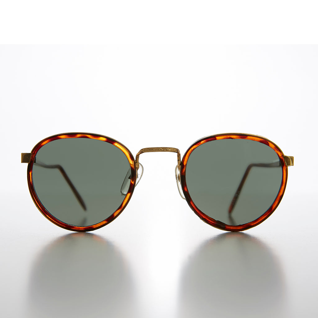 Small Round Combination Gold and Brown Tortoise Colored 90s Sunglass