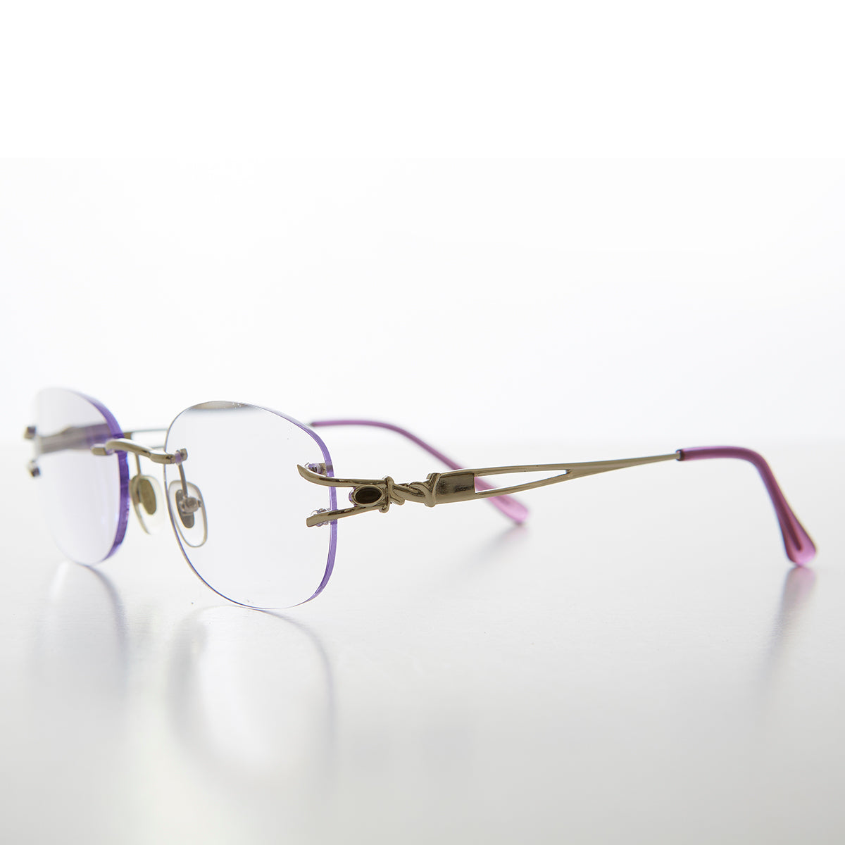 Oval Rimless Colored Lens Lightweight Reading Glasses - Leona
