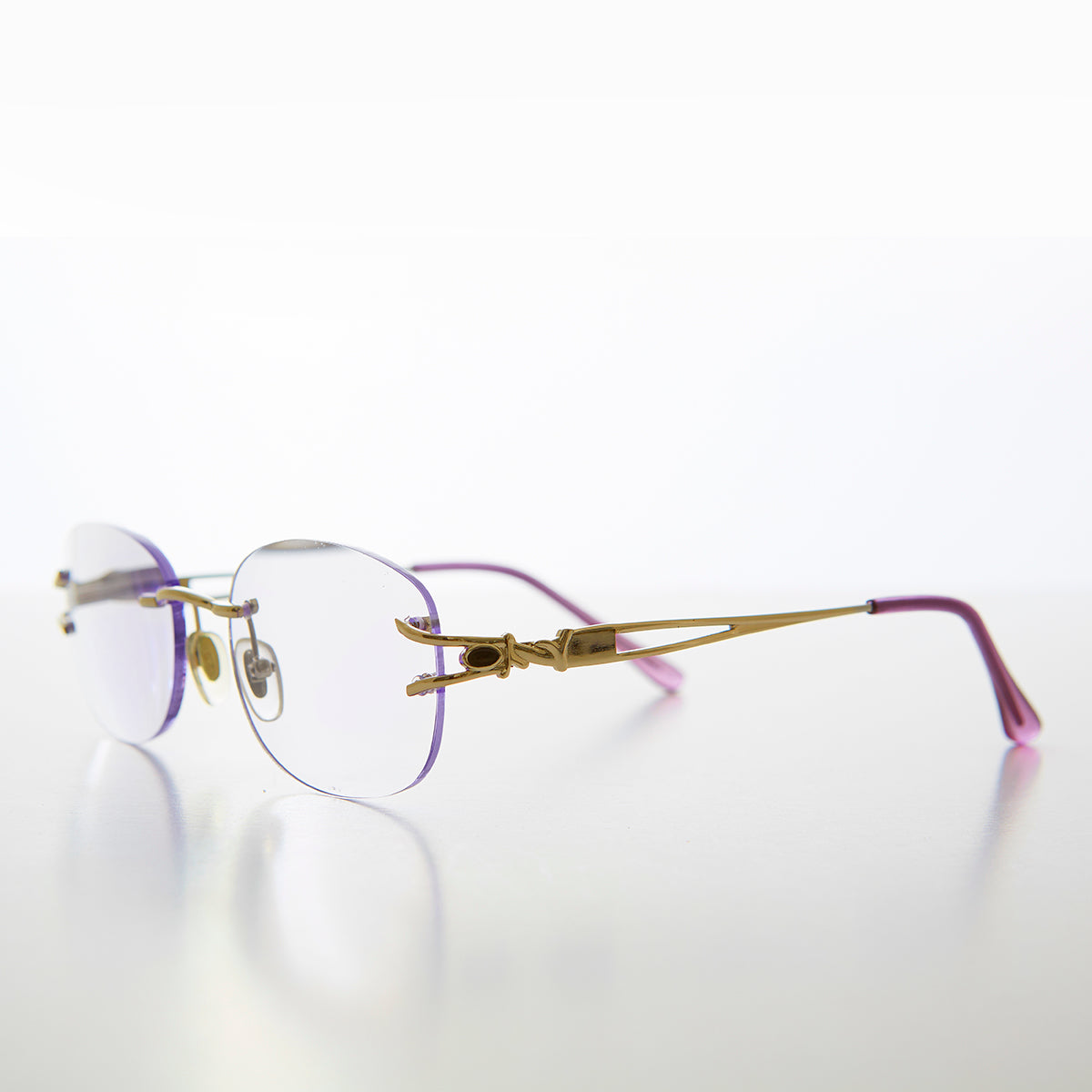Oval Rimless Colored Lens Lightweight Reading Glasses