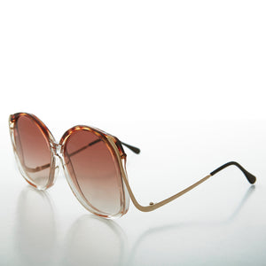 Oversized Round Women's Vintage Sunglass with Colored Lenses