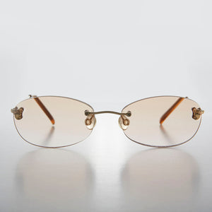 Rimless Oval Tinted Colored Lens Reading Glasses