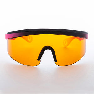 Rare Wrap Sporty Shield Tri-color Sunglass with Blue Blocker Lens