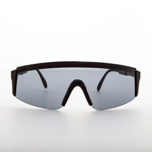made in france black sports shield vintage sunglasses
