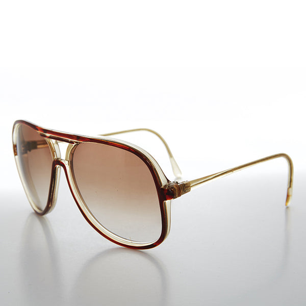 80s Square Clear Frame Vintage Aviator with Brown Accents - Lover